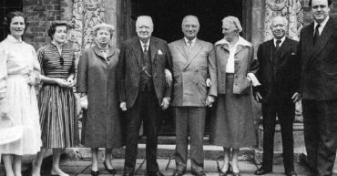 Mary and Sarah, Bess Truman, WSC, President Truman, Clementine, Lord Beaverbrook and Christopher Soames, Chartwell, June, 1956.