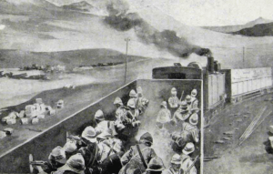 The armored train was a peculiarly vulnerable method of moving British troops during the Boer War (from an old print).