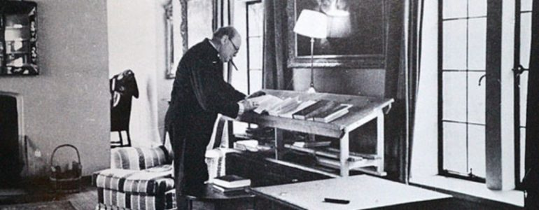 Churchill at his writing desk