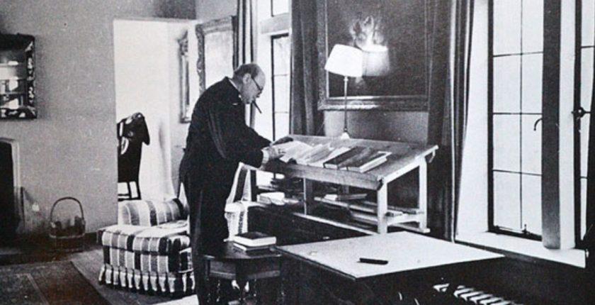 Churchill at his writing desk