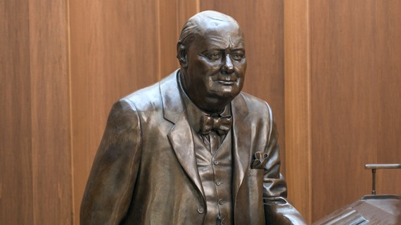 Statue of Winston Churchill at Hillsdale College