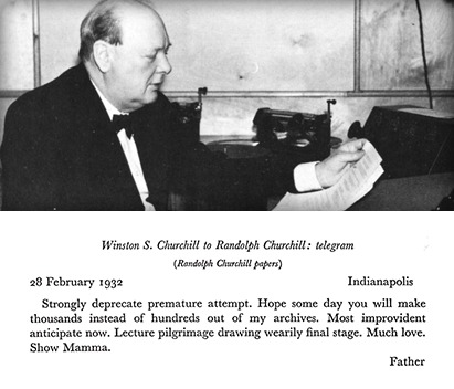 Winston Churchill reading letters.