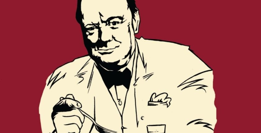 "From the cover of ""Churchill's Cookbook"""