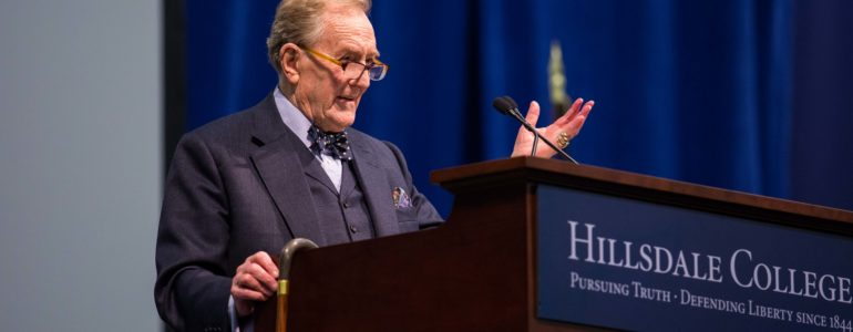 Robert Hardy speaks at Hillsdale College