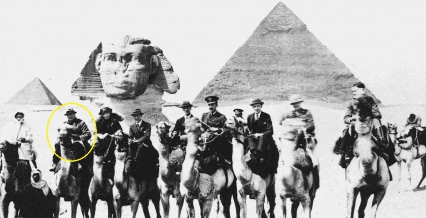 Churchill in front of the Pyramids