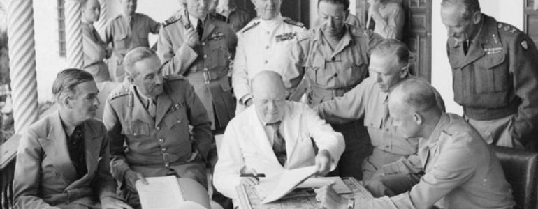 Churchill with other military commanders