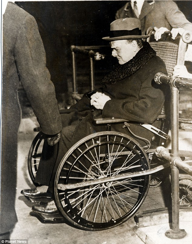 Churchill in a wheelchair