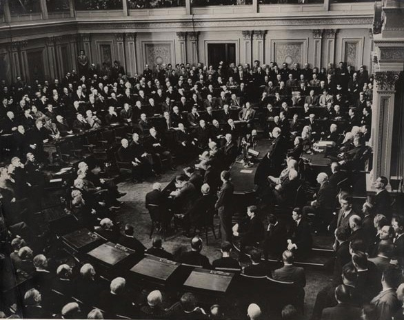 Churchill in his first of three addresses to the U.S. Congress, 26 December 1941. For highlights of this fighting speech click here.