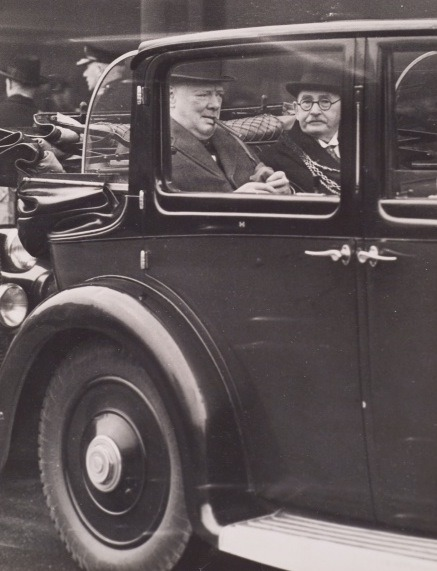 Hyman Morris and Winston Churchill in an automobile