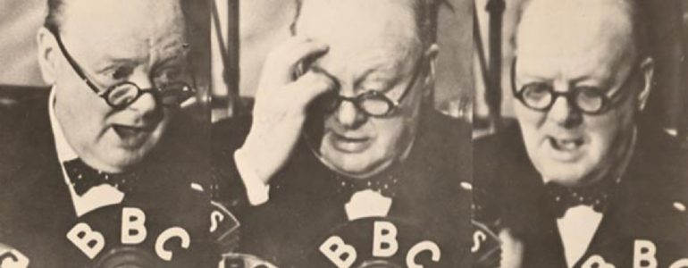 Churchill at the microphone