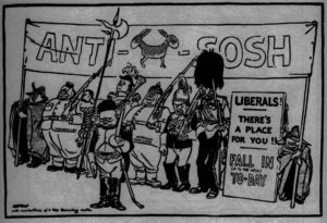 """The Recruiting Parade,"" in The Star, 7 October 1924. David Low, the peerless socialist cartoonist, lampoons anti-socialist allies Churchill (out front) and Beaverbrook (right) during the general election campaign. The election resulted in a huge Conservative majority under Stanley Baldwin (probably the soldier with the pipe labeled ""cracked protection"") who offered Churchill the Exchequer. Churchill was a great fan of Low, and purchased the original of this cartoon, which he wrote about in Thoughts and Adventures; Low shared his grudging admiration."