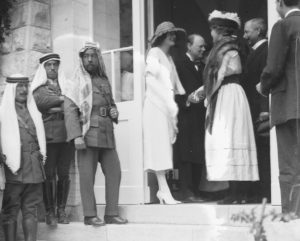 Jerusalem, 28 March 1921: Mr. and Mrs. Winston Churchill greeting local business owners and charity workers Bertha and Frederick Vester at Government House. The Emir Abdullah of Trans-Jordan is third from left (Library of Congress).
