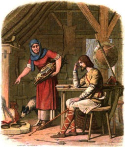 King Alfred is scolded by a Saxon housewife for not turning the cakes, but readily eating them when they were baked: one of Churchill's favorite myths. (From J.W.E. Doyle, A Chronicle of England, 1864, Wikimedia)