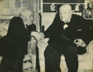 Old friends: Ben-Gurion visiting Churchill, London, 1961. This photo, from a private collection, was signed by both.