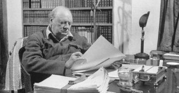 Churchill proofing his war memoirs