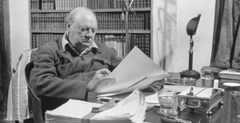 Churchill proofing his war memoirs