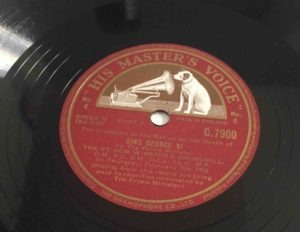 The customary HMV 78 rpm label used after the Decca and London sets. This example is Churchill's speech of 7 February 1952, following the death of King George VI. (HMV records were manufactured by Gramophone, which in any case had a stylistically similar but, wording-wise, different label.)