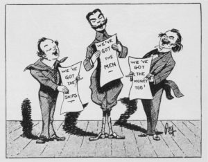 Cartoon by Percy Fearon of Churchill, Kitchener, and Lloyd George singing.