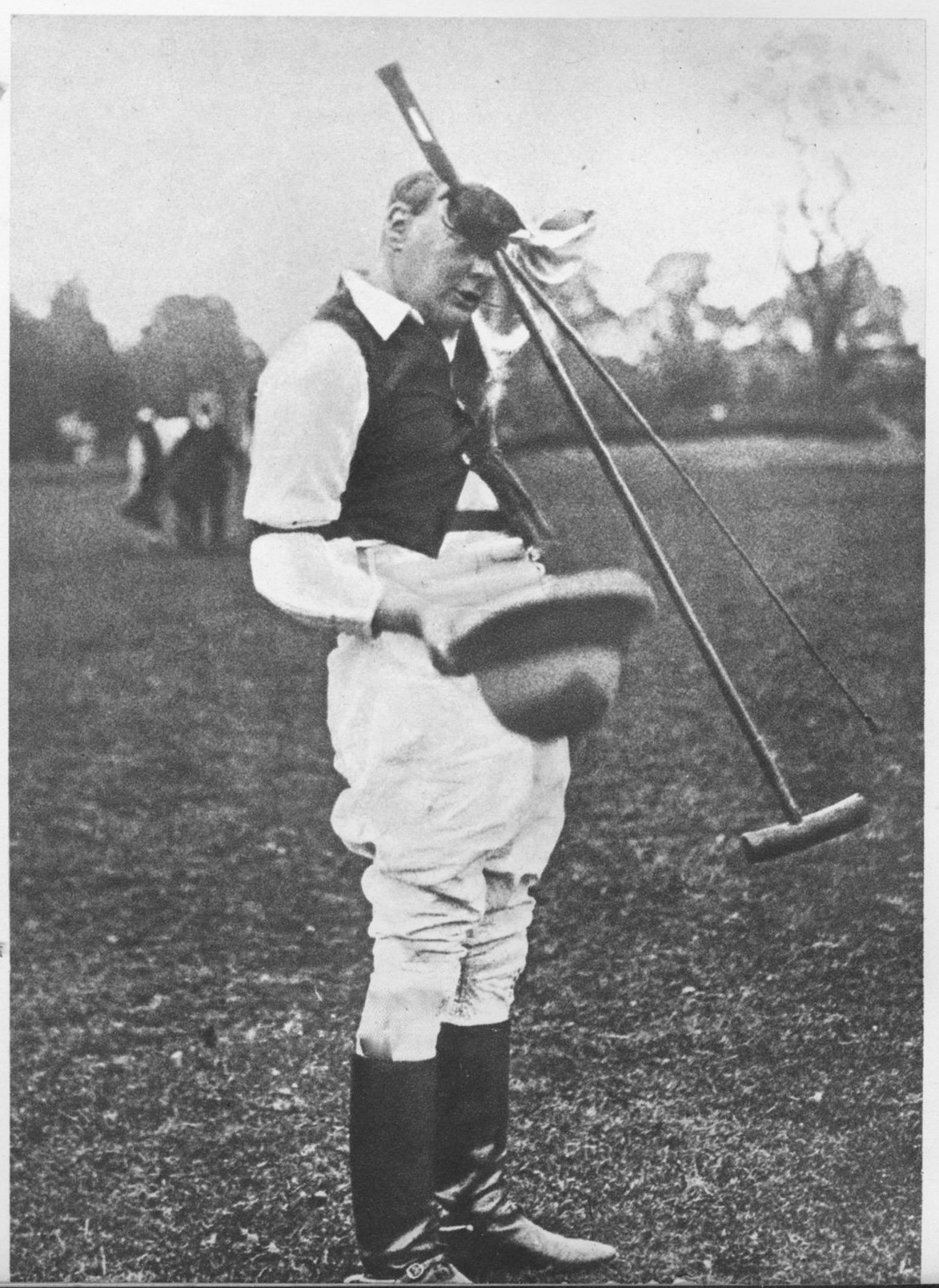 "He played his last chukka in 1927: ""I do not think one day's practice would do me much good; in fact it would only make one stiff."" This photo was taken after a match at Roehampton six years earlier. (Mary Soames)"
