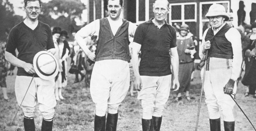 Captains of the House of Commons Polo team which defeated the House of Lords, 18 July 1925. L-R: G.R.G. Shaw, Euan Wallace, the Hon. Freddie Guest, WSC. (Reuters)