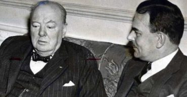 "Churchill chats with Thomas E. Dewey in New York, 13 March 1946, following WSC's ""Sinews of Peace"" speech in Fulton, Missouri. (Albany Times-Union)"