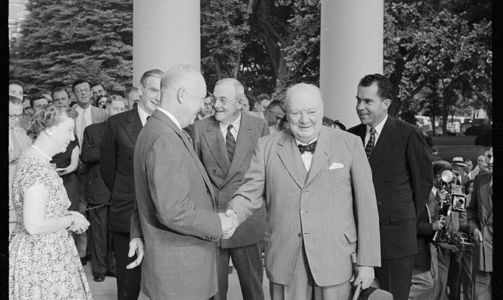 Churchill shaking hands at the White House, June 25 1954