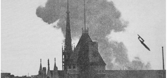 A V1 flying bomb coming down on London, 1944.