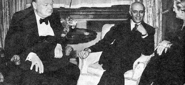 The Churchills conversing with Jawaharlal Nehru.